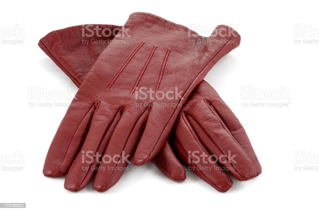 red leather gloves stock photo