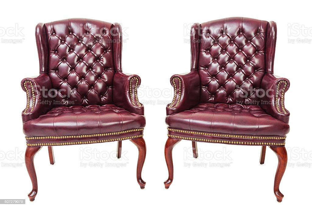 Red Leather Guest Chairs stock photo