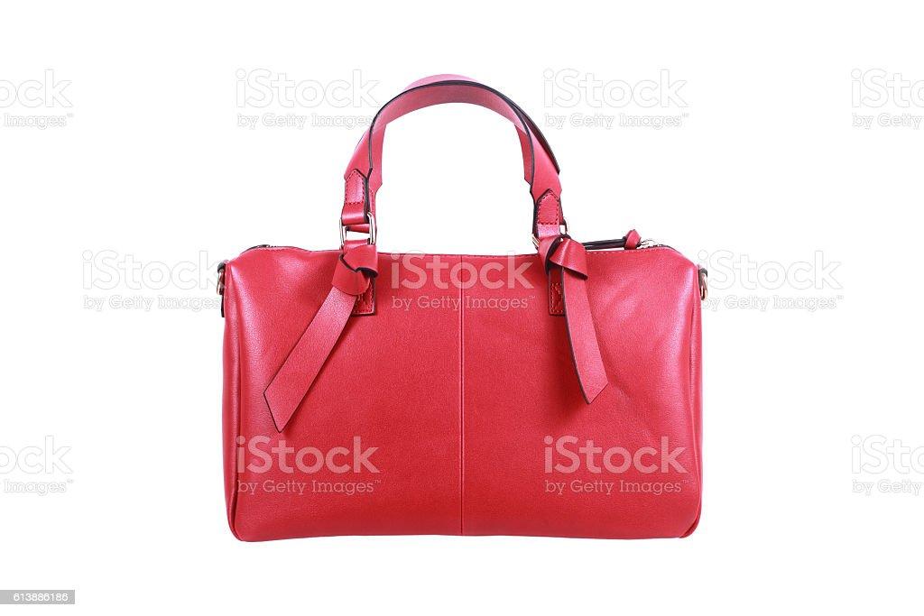 red leather handbag isolated on white stock photo