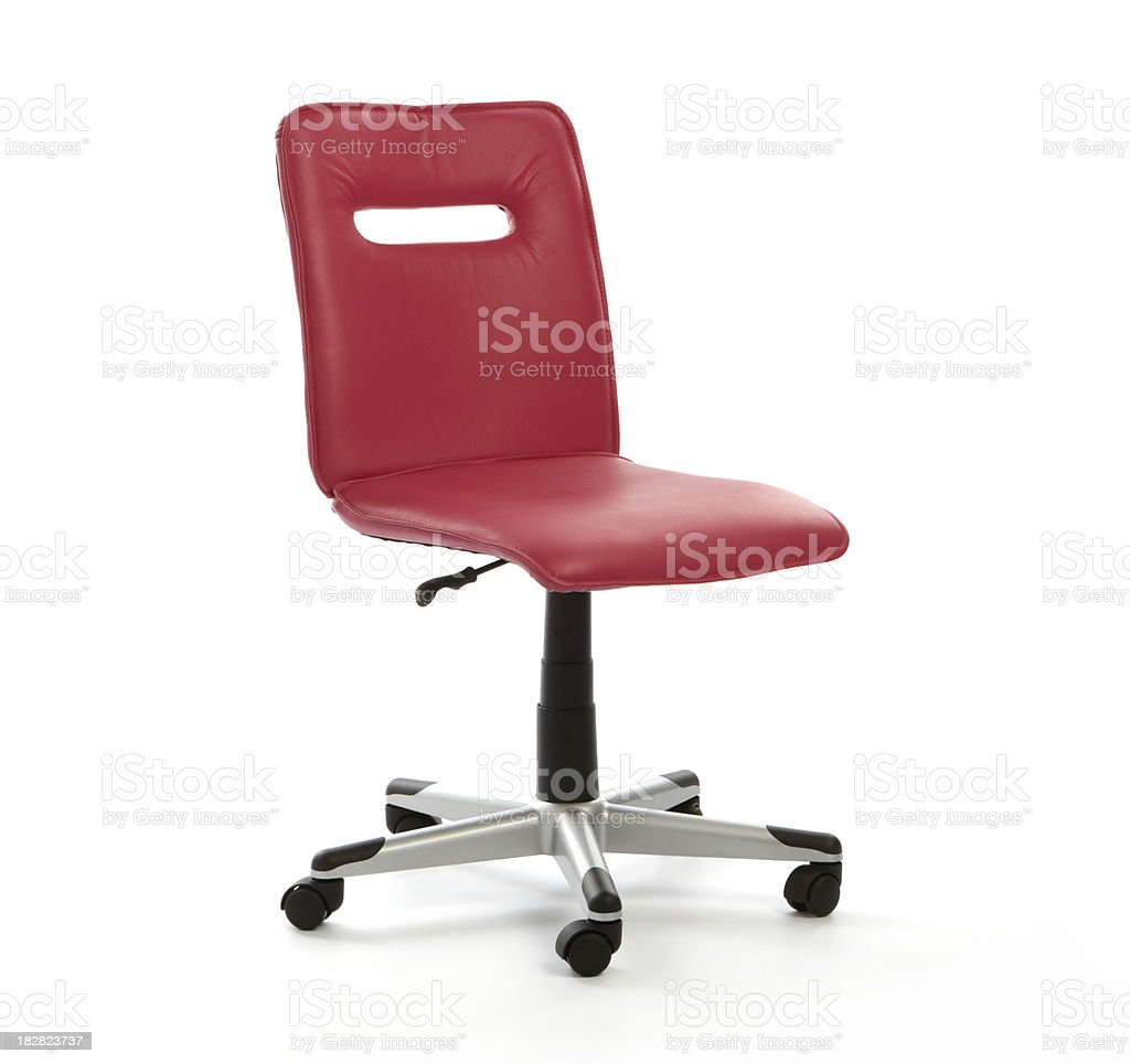 Red Leather Office Chair on White Background royalty-free stock photo