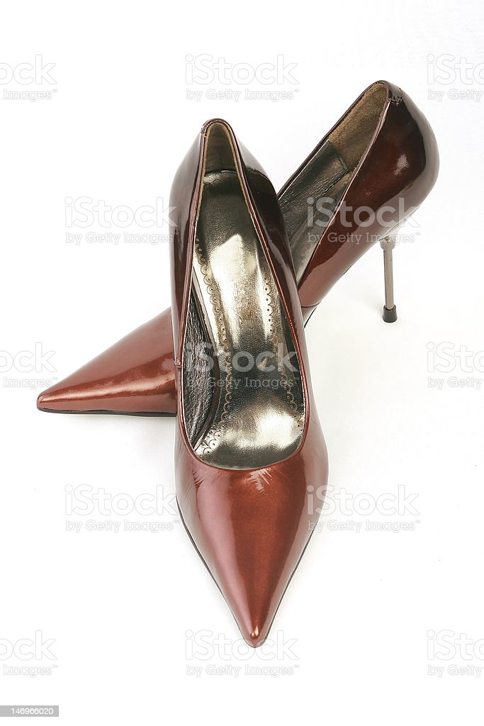 Red leather shoes royalty-free stock photo