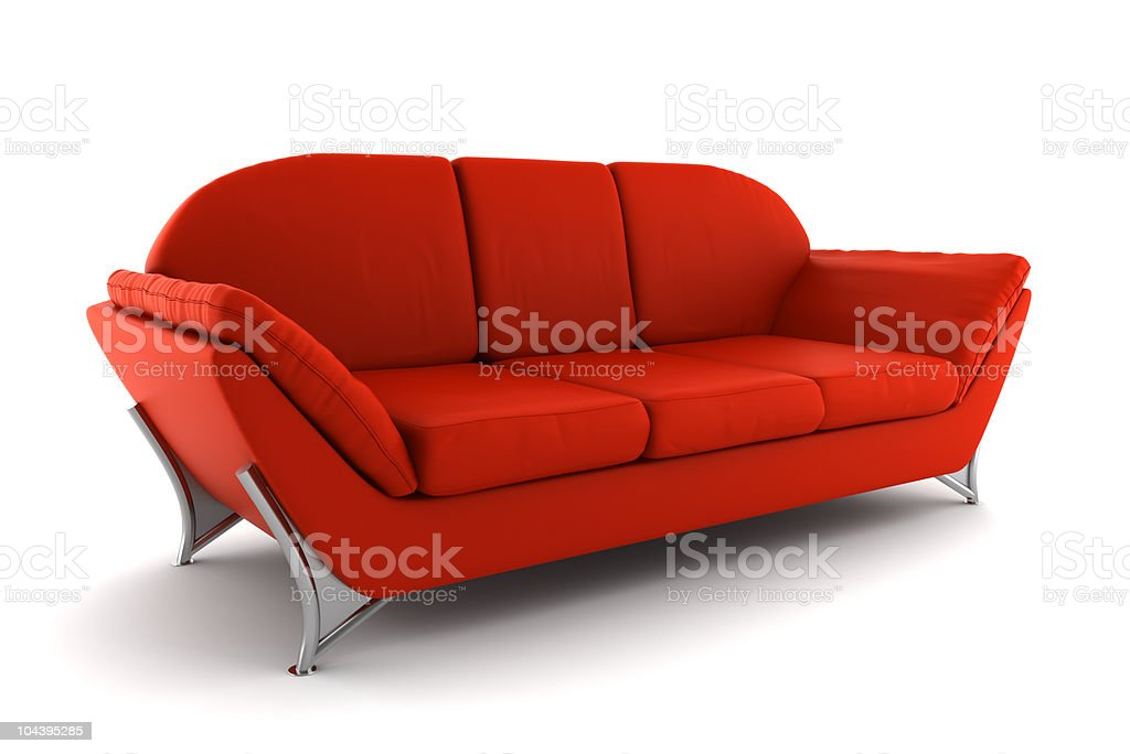 red leather sofa isolated on white background with clipping path royalty-free stock photo