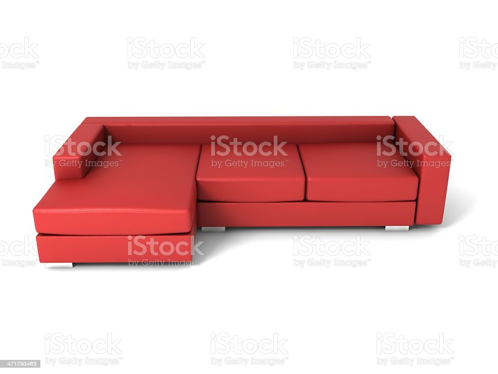red leather sofa stock photo