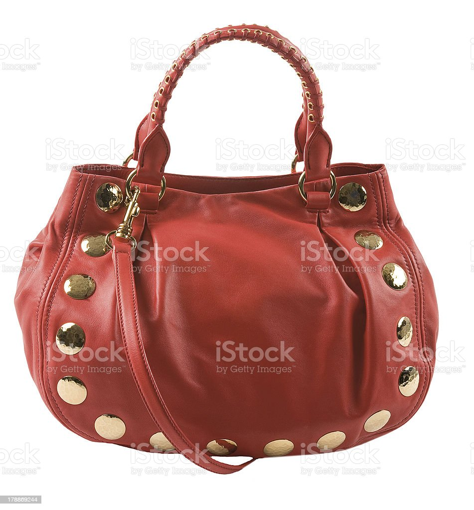 Red leather studded purse stock photo