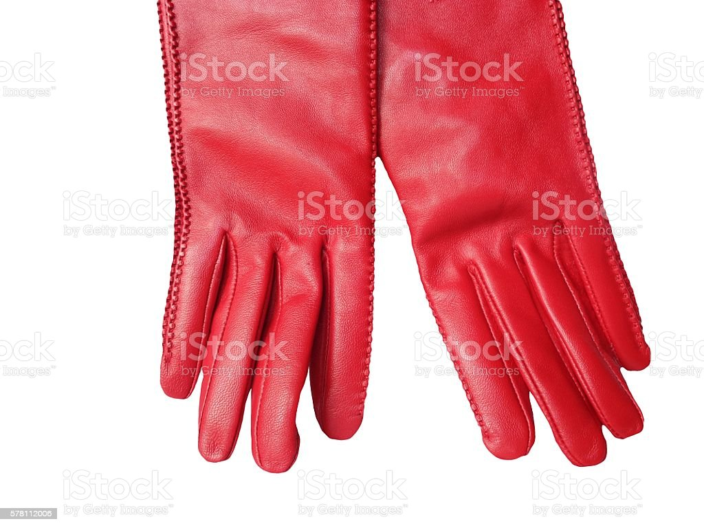 Red leather women's gloves isolated on white background stock photo