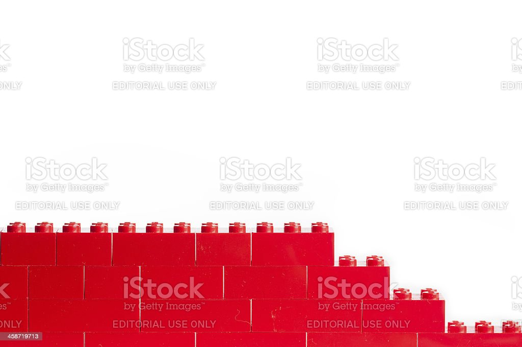 Red Lego blocks with copy space stock photo