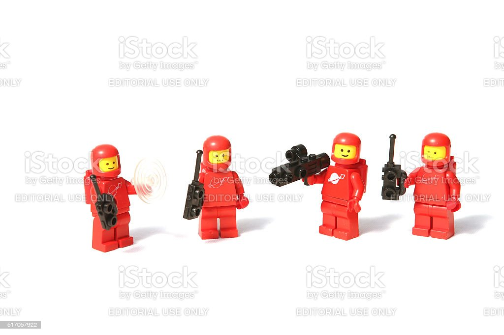 Red Lego Space Mini Figures stock photo