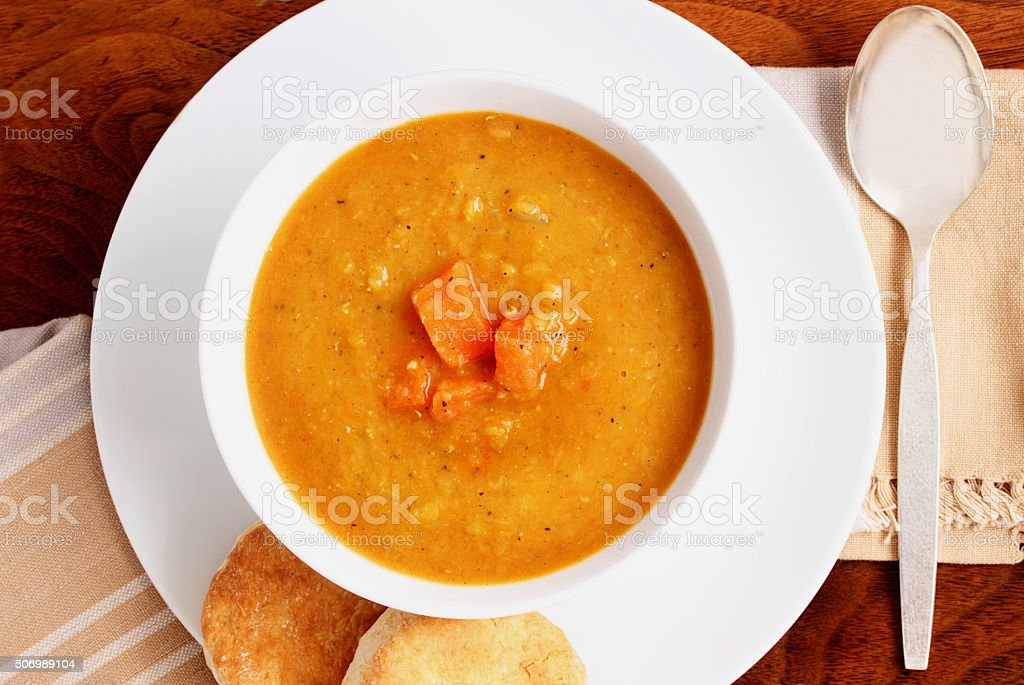 Red lentil and carrot soup stock photo