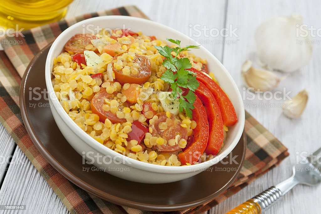 Red lentils with vegetables royalty-free stock photo