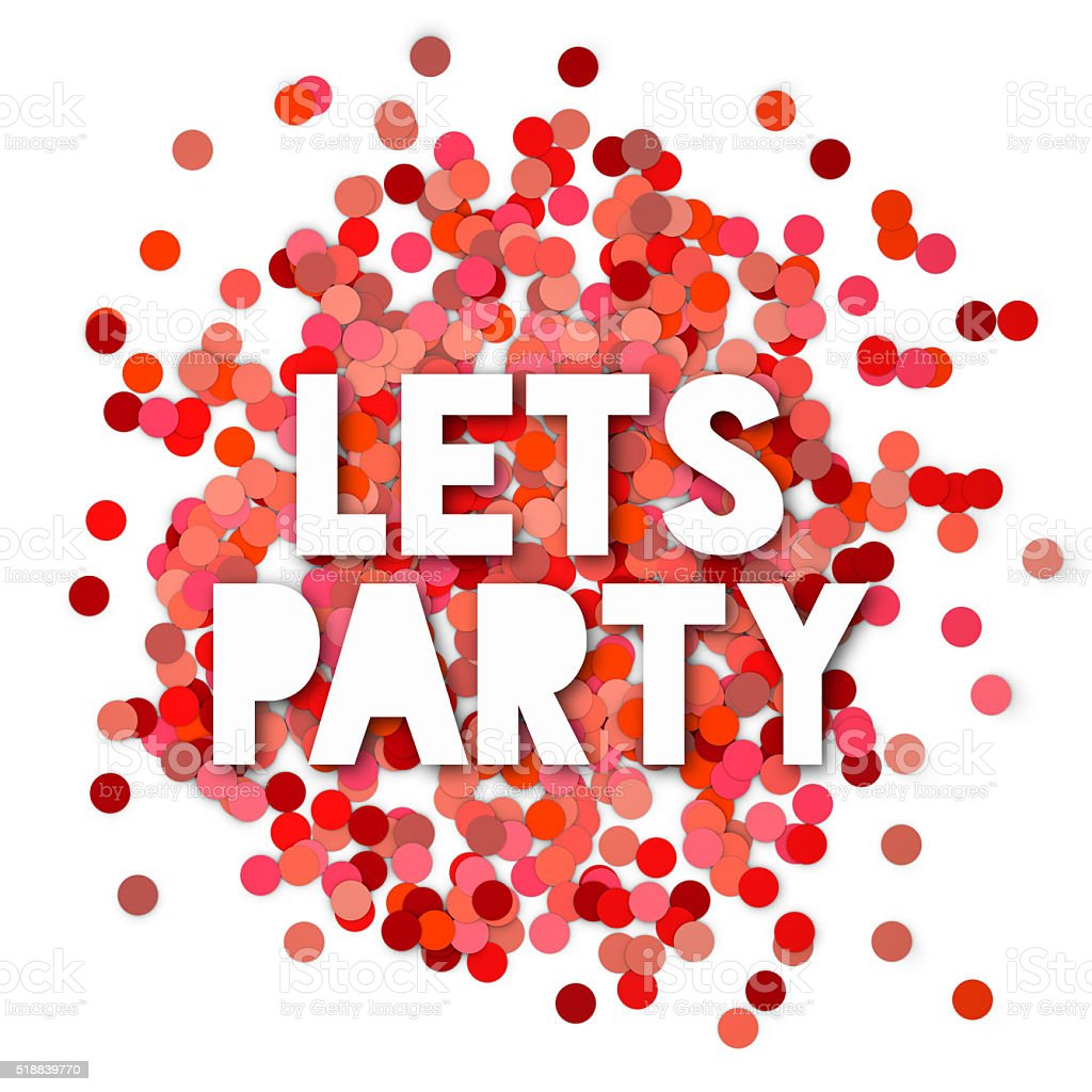 Red Lets party background isolated on white stock photo