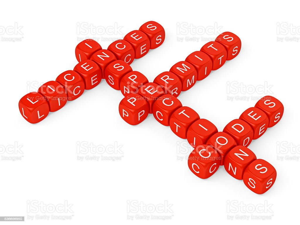 Red letter dice spelling out Permits, Inspections, Licenses, Codes stock photo