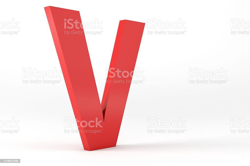 3D Red Letter V stock photo