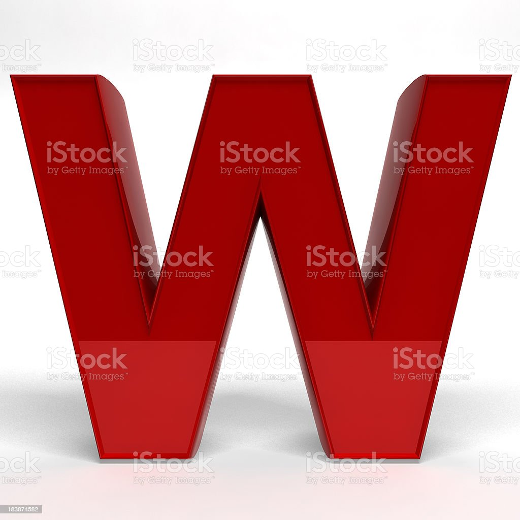Red letter W royalty-free stock photo