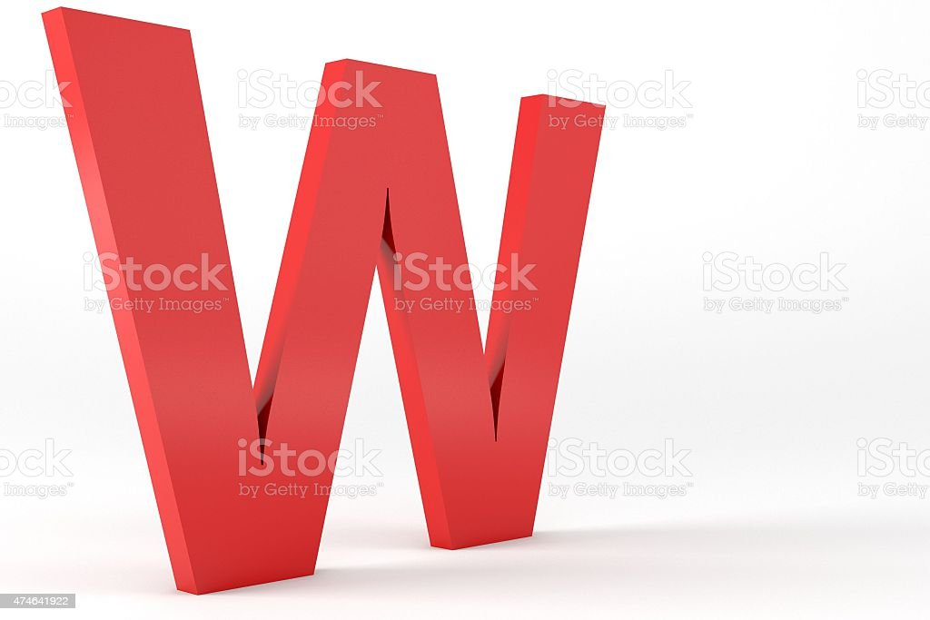 3D Red Letter W stock photo