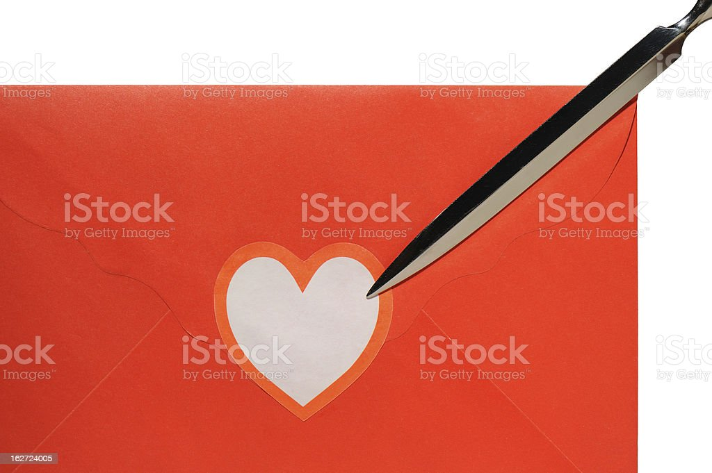 Red Letter with Heart and Paper Knife royalty-free stock photo