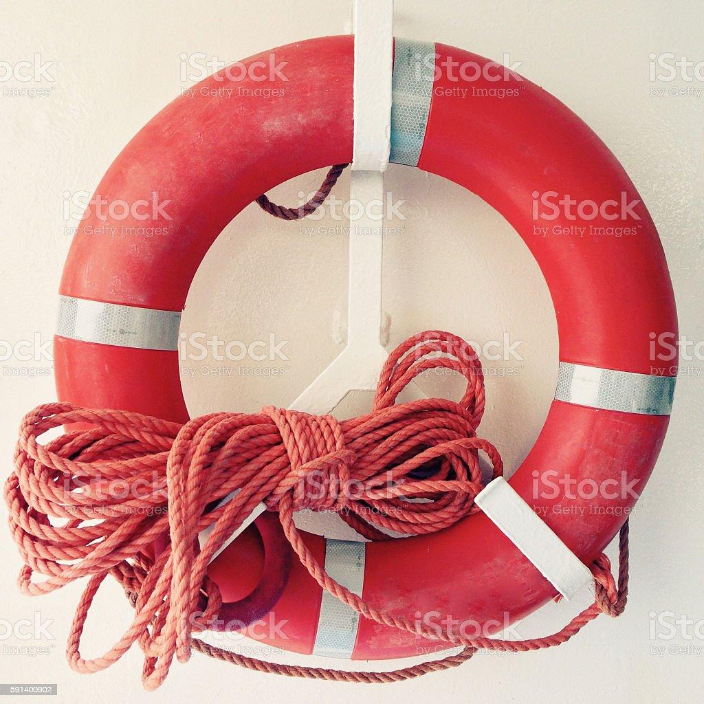 Red life belt stock photo