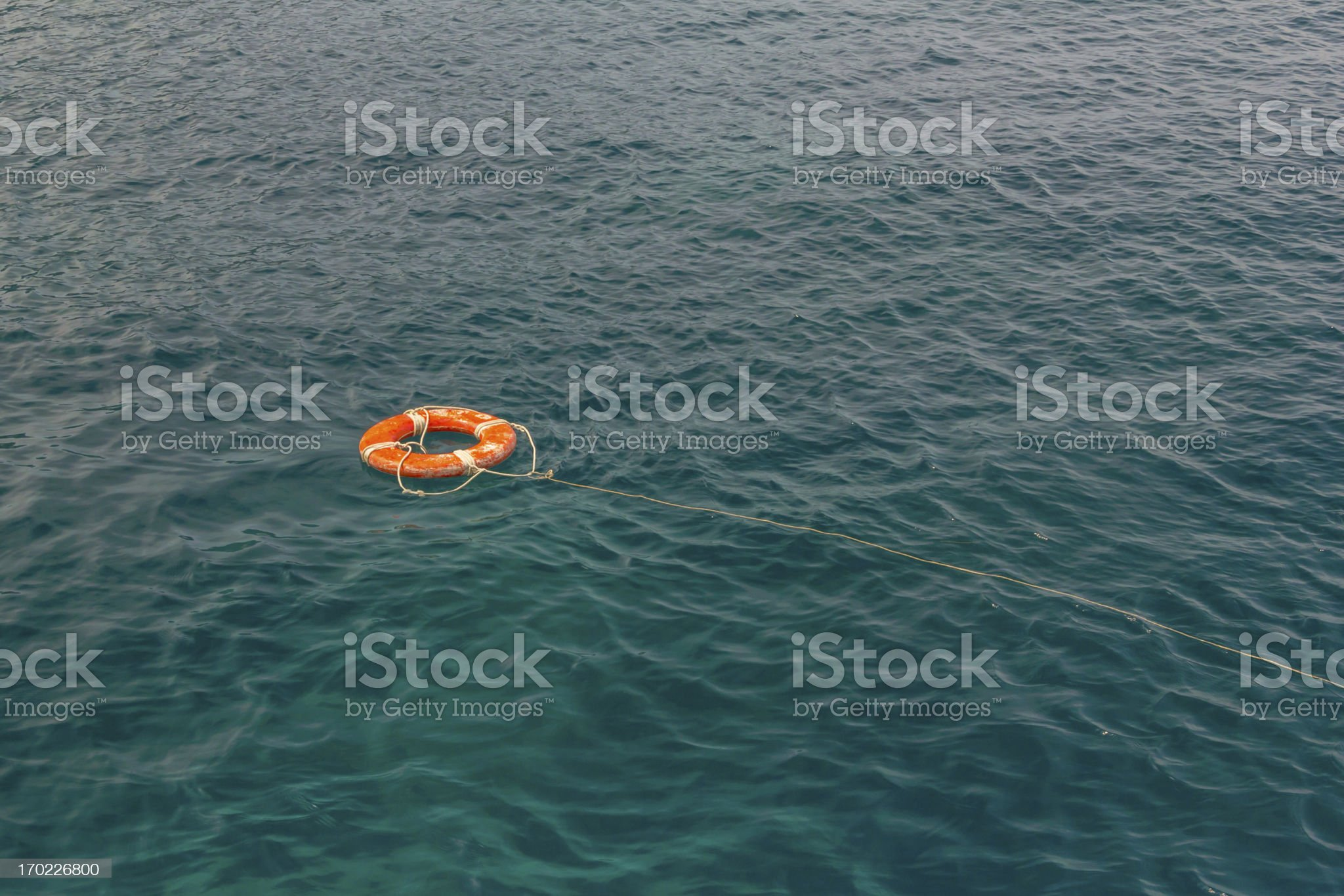 Red life buoy in the water royalty-free stock photo