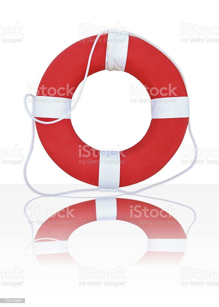 Red Life Buoy, Isolated On White Background, royalty-free stock photo