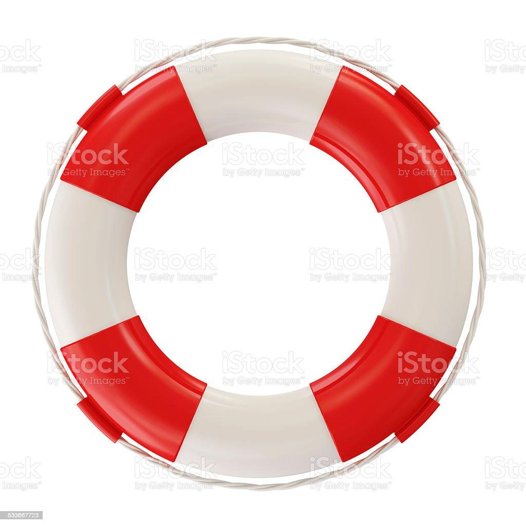 Red Lifebelt isolated on white background stock photo