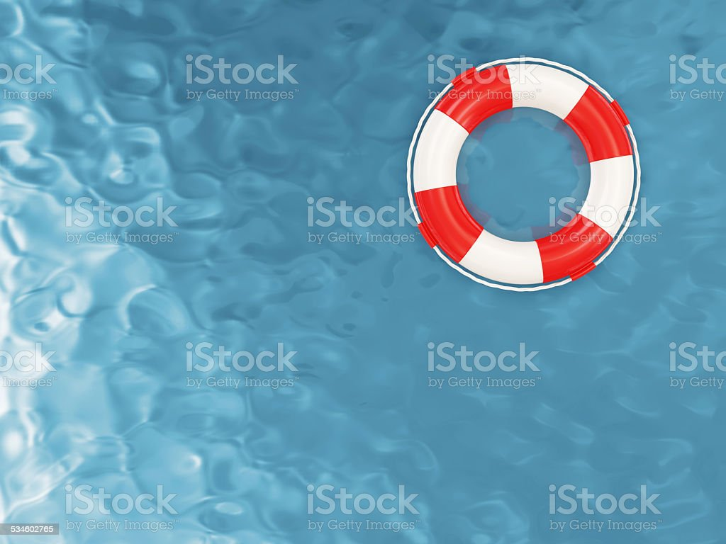 Red Lifebelt on the Water stock photo