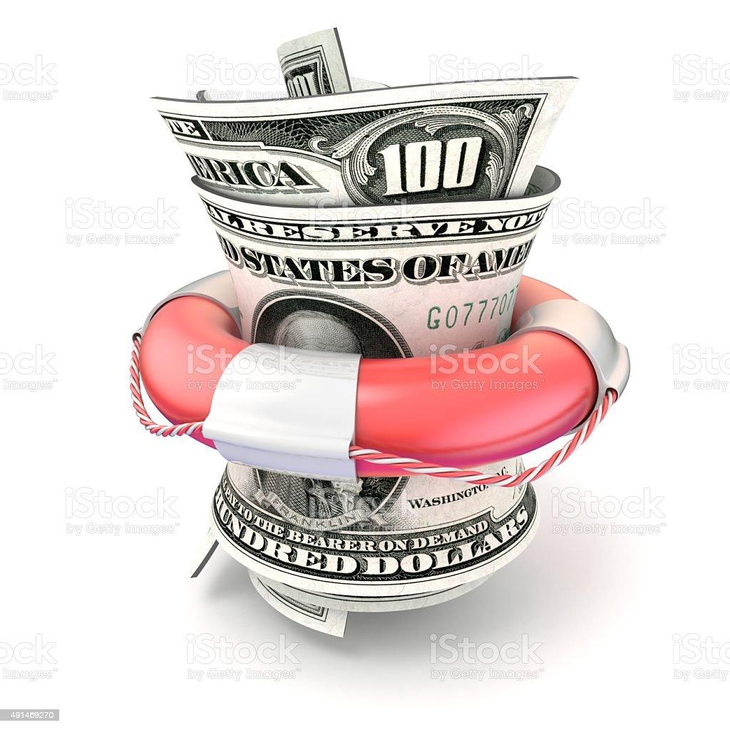 Red lifebuoy saving money, roll dollars. 3D render stock photo