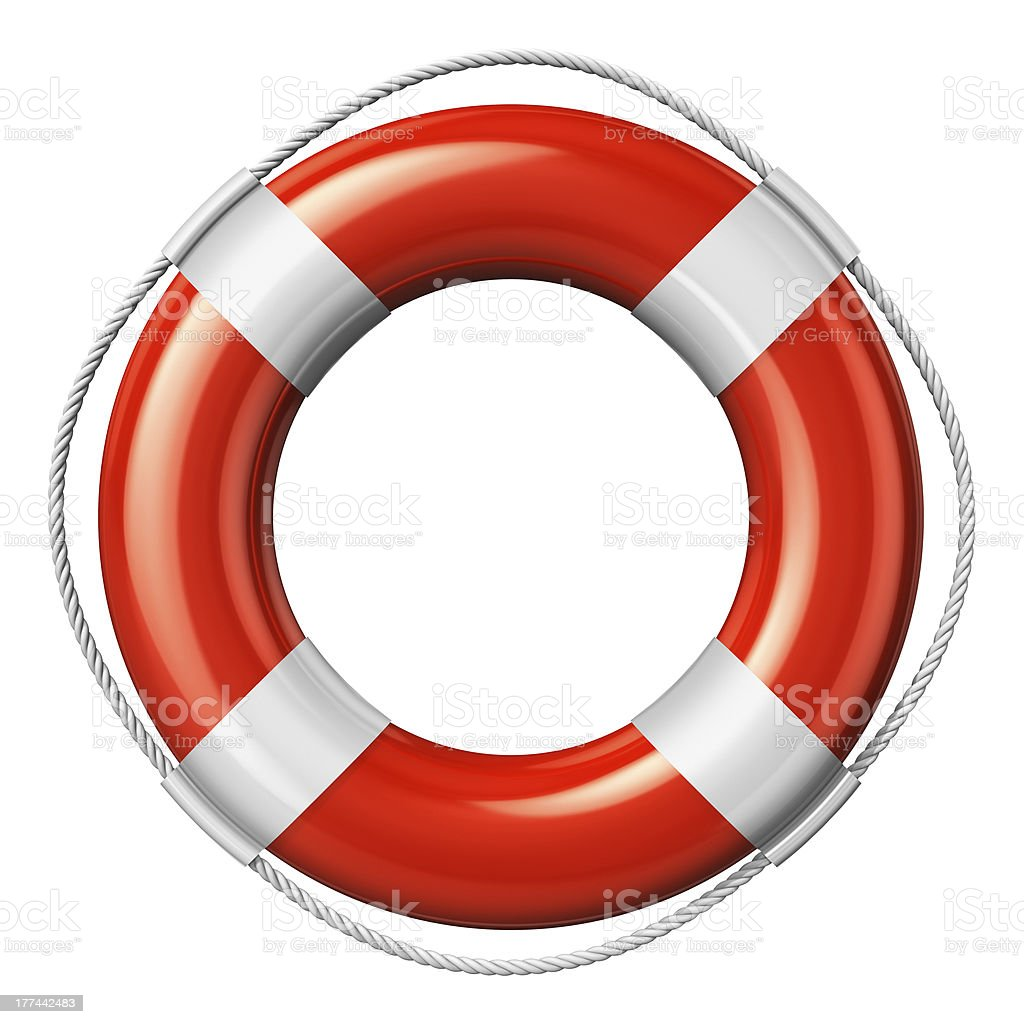 Red lifesaver belt isolated on white background stock photo