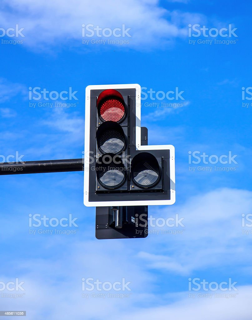 Red light and sky. stock photo