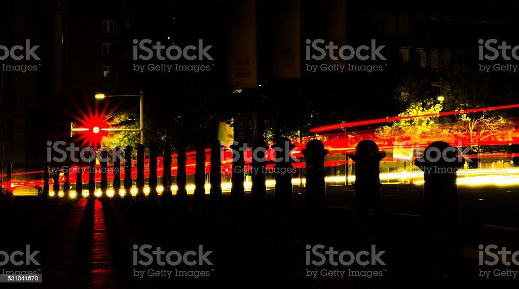 Red light at night stock photo