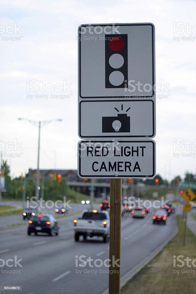 Red Light Camera Warning Sign royalty-free stock photo