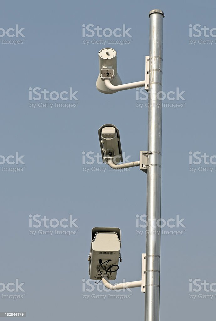 Red light cameras mounted on post royalty-free stock photo