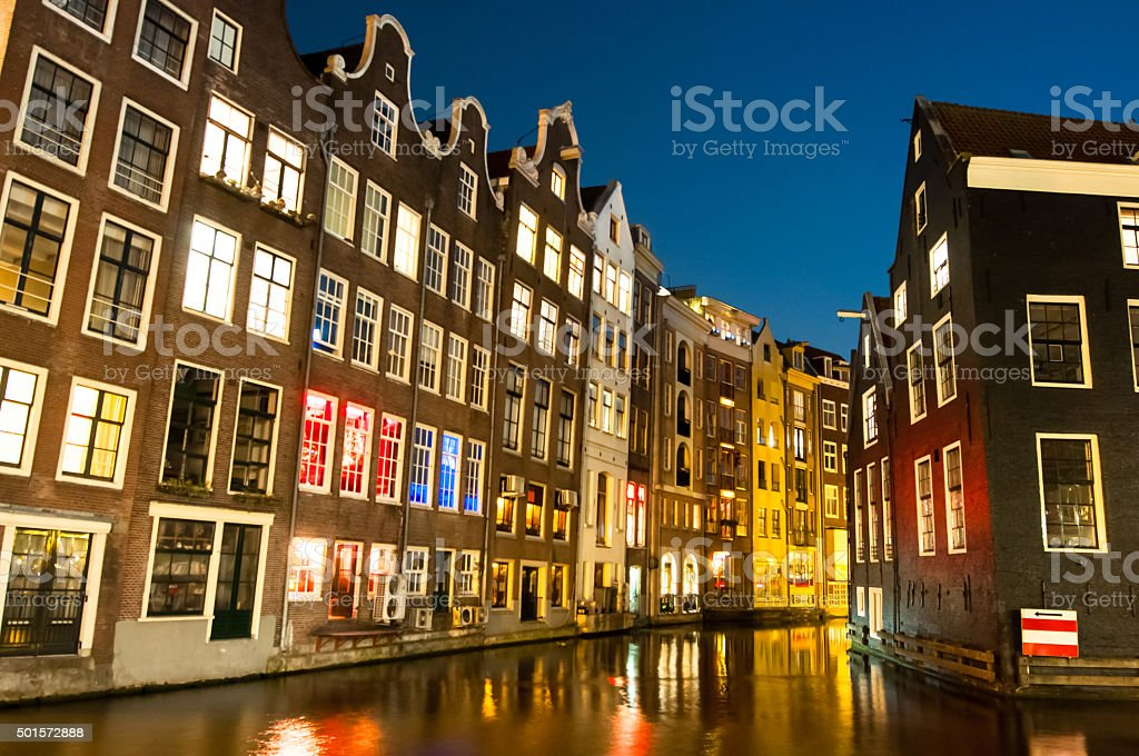 Red light district at night.  Amsterdam, the Netherlands. stock photo
