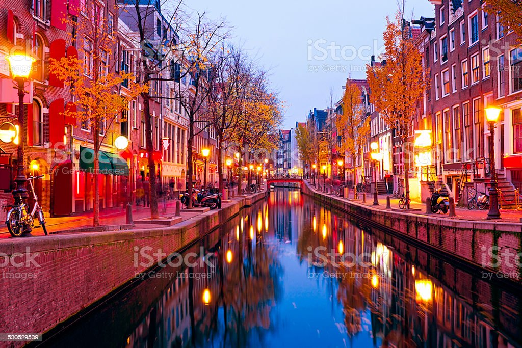 Red light district in Amsterdam the Netherlands at night stock photo