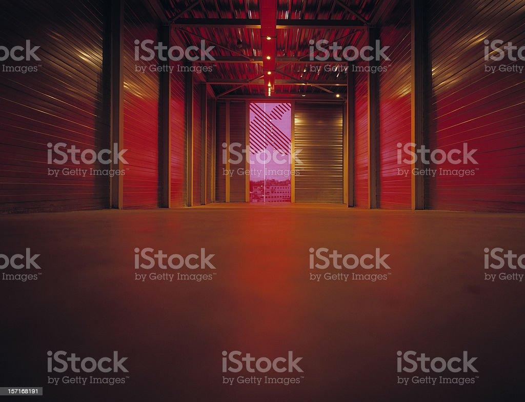 Red light entering hallway. royalty-free stock photo