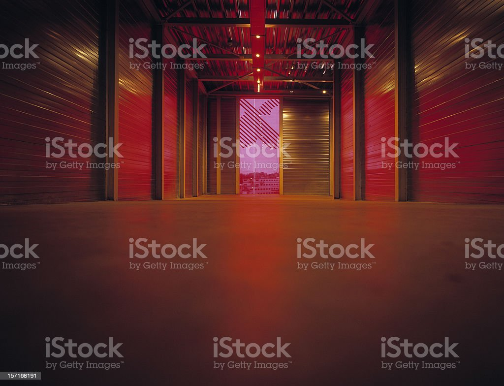 Red light entering hallway. stock photo
