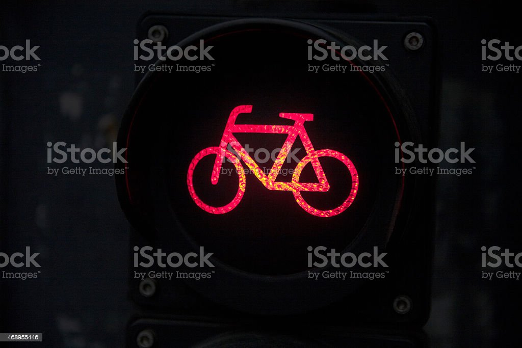 Red light for bycicle lane on a traffic light stock photo