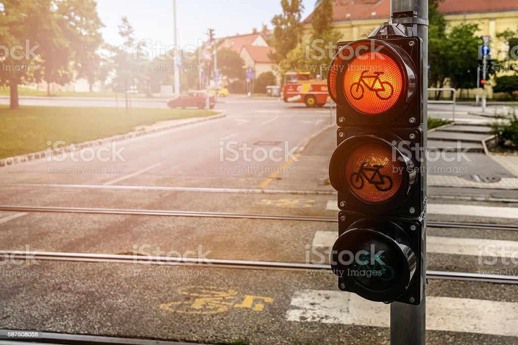 Red light for cyclists stock photo