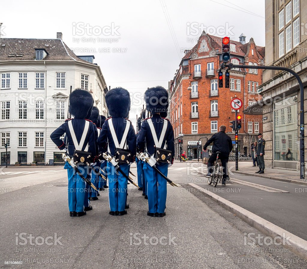 Red light for the royal guards of Copenhagen Demark stock photo