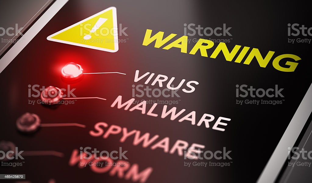 Red light indicating virus warning stock photo