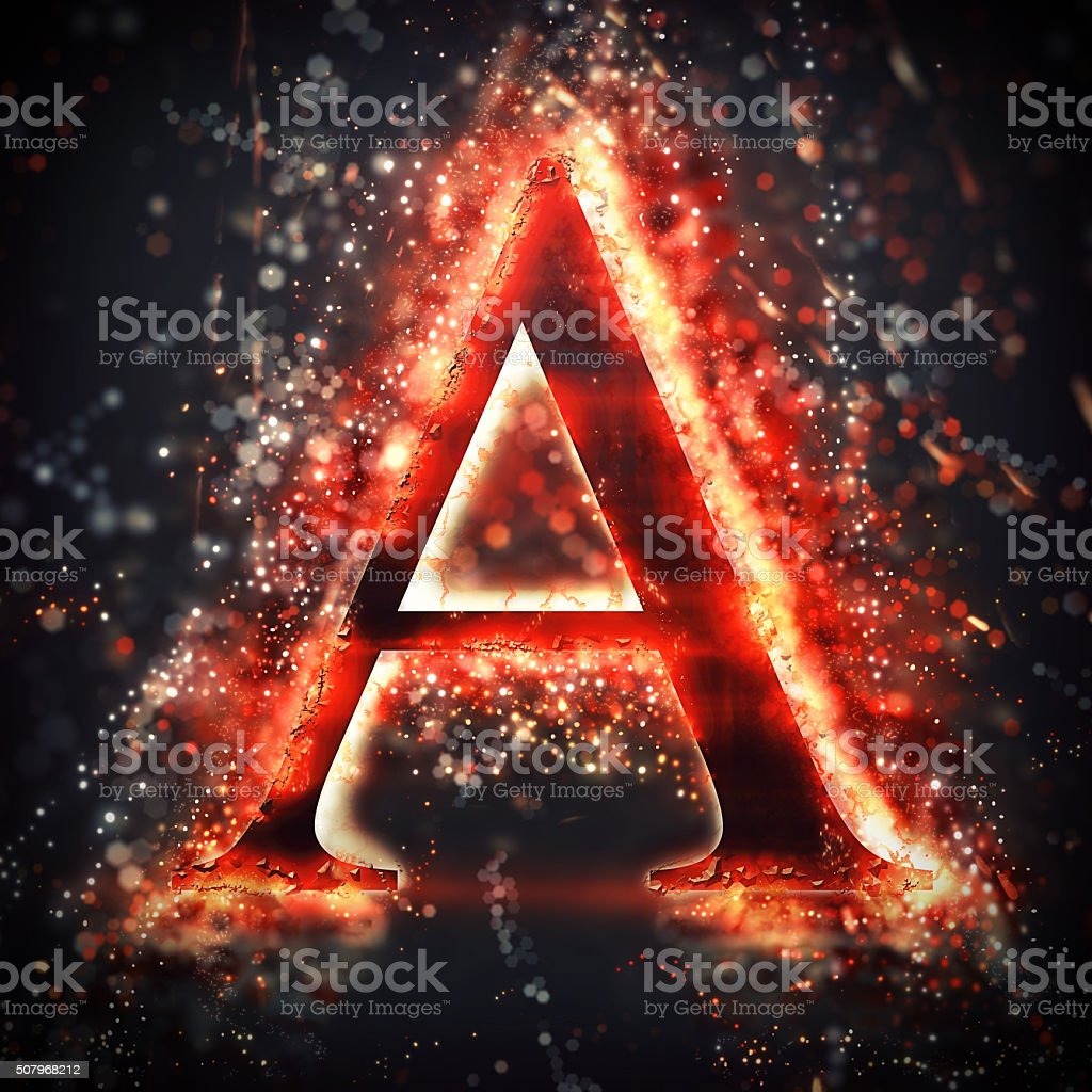 Red light letter A stock photo