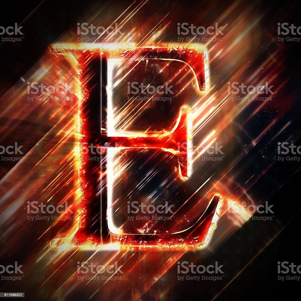 Red light letter E stock photo