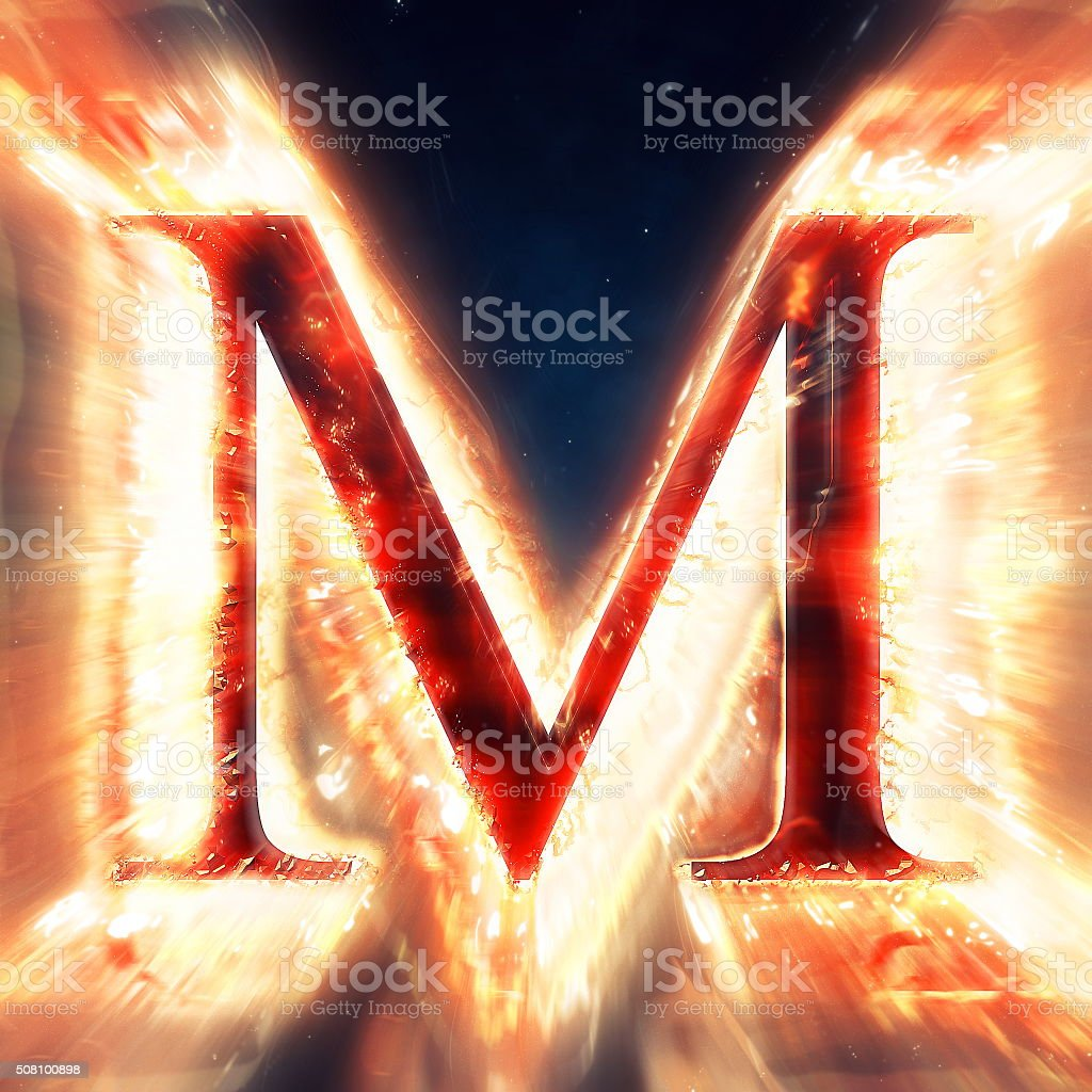 Red light letter M stock photo