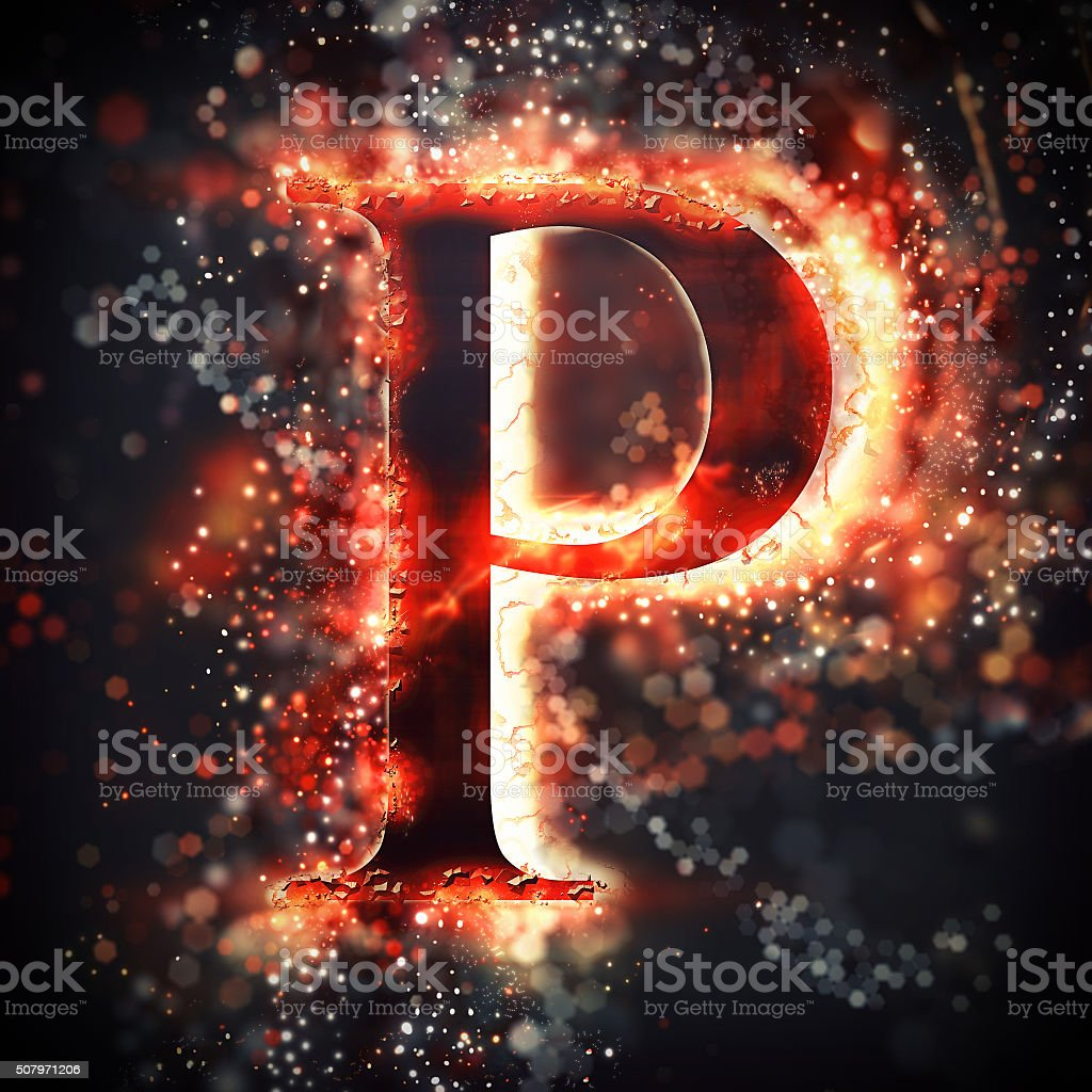 Red light letter P stock photo