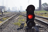 red light on railway track