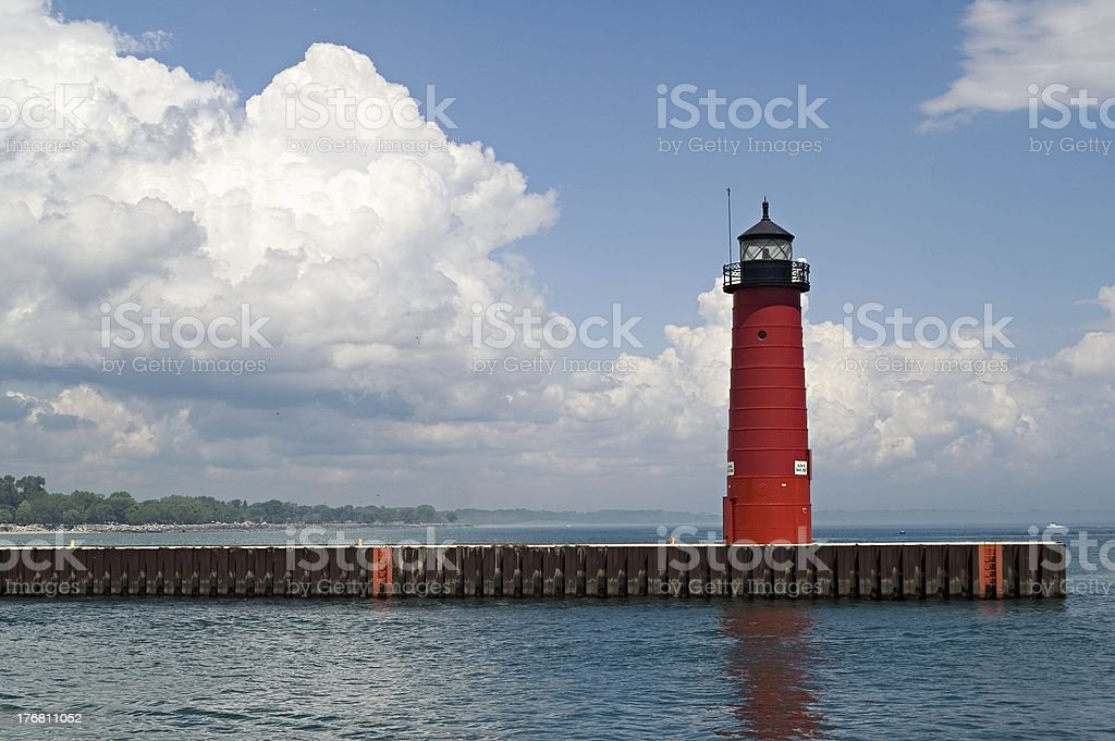 Red lighthouse stock photo
