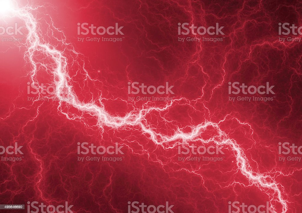 Red lightning - abstract electrical background stock photo
