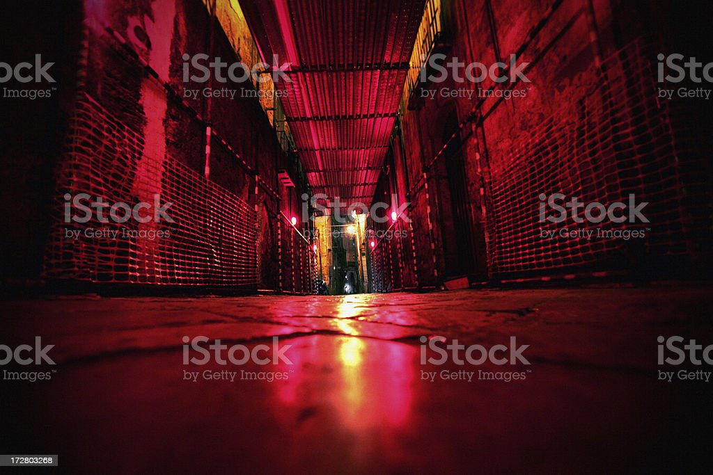red lights backstreet stock photo