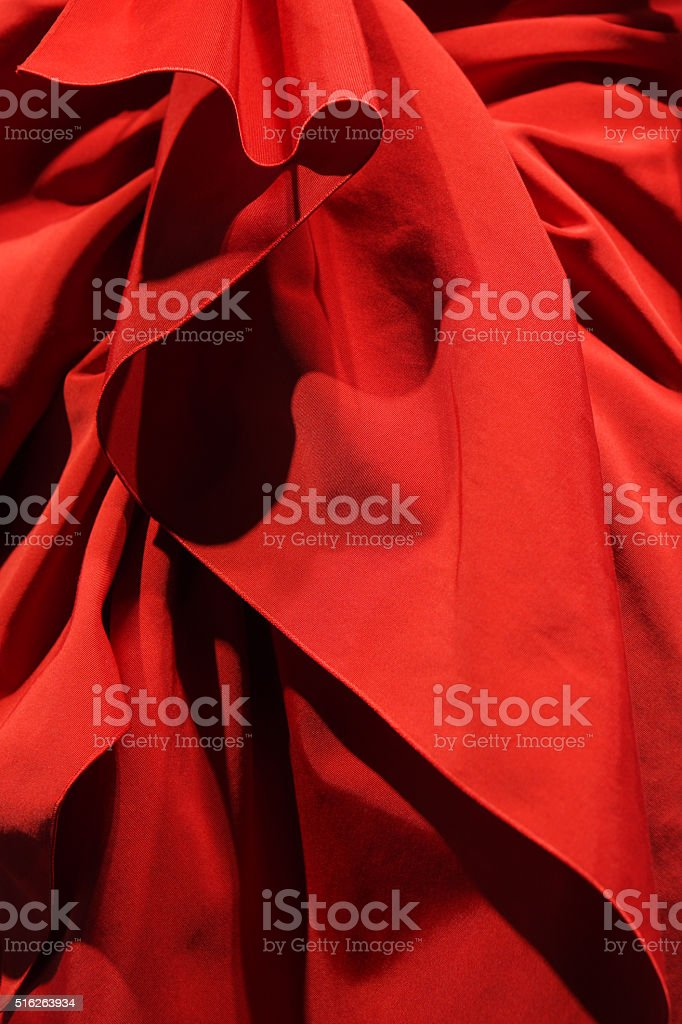 Red Linen Fabric Cloth Folds stock photo