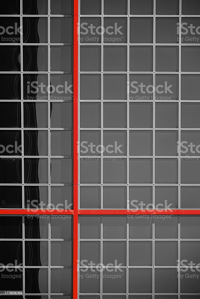 Red lines on the KIO Towers in Madrid stock photo