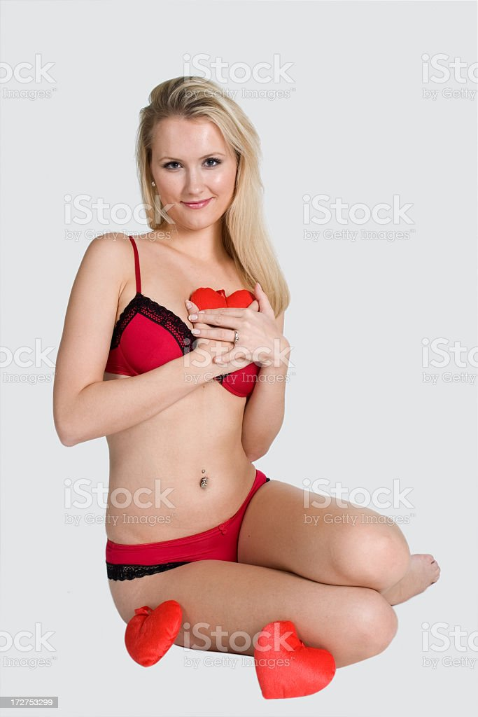 Red lingerie valentines heart royalty-free stock photo