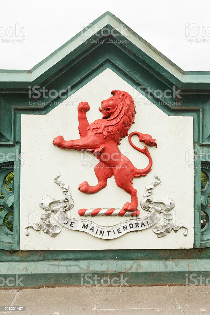 Red lion coat of arms stock photo